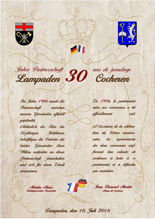Partnerschaftsurkunde 30 Jahre Cocheren Lampaden